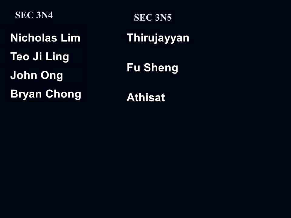 Nicholas Lim Teo Ji Ling John Ong Bryan Chong SEC 3N4 SEC 3N5 Fu Sheng AthisatThirujayyan