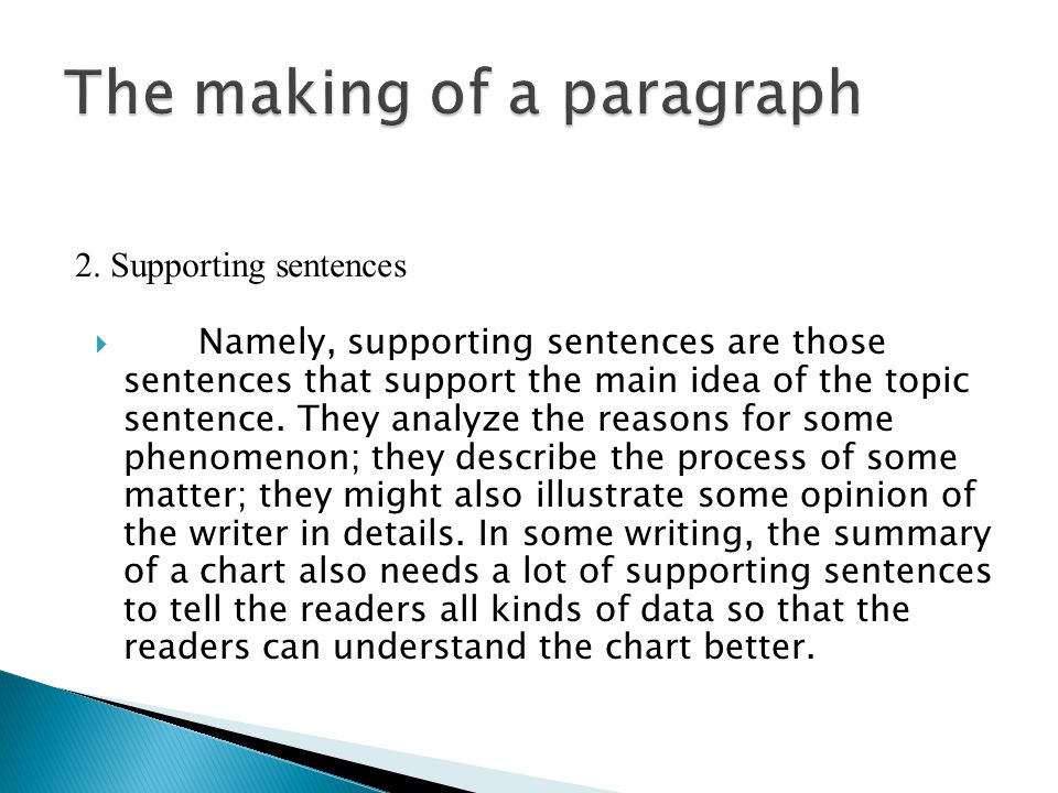  Namely, supporting sentences are those sentences that support the main idea of the topic sentence.
