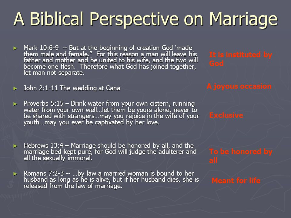 A Biblical Perspective on Marriage ► Mark 10:6-9 -- But at the beginning of creation God 'made them male and female. For this reason a man will leave his father and mother and be united to his wife, and the two will become one flesh.