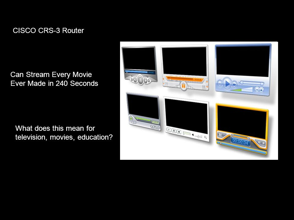 CISCO CRS-3 Router Can Stream Every Movie Ever Made in 240 Seconds What does this mean for television, movies, education?
