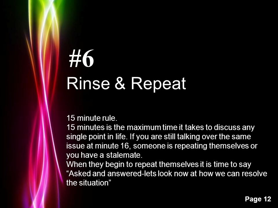Powerpoint Templates Page 12 #6 Rinse & Repeat 15 minute rule.