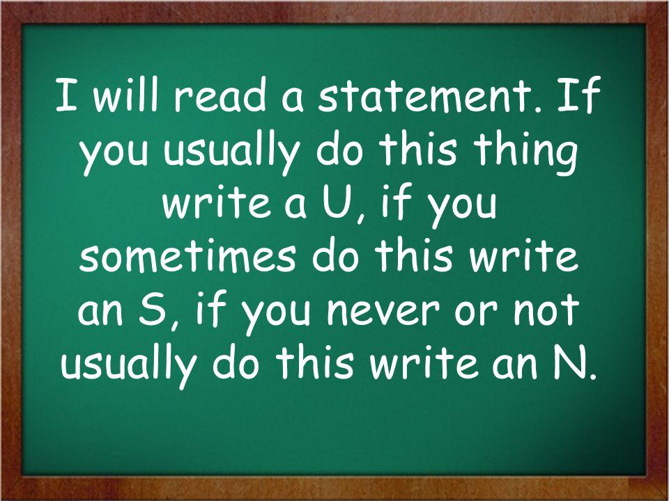 I will read a statement.