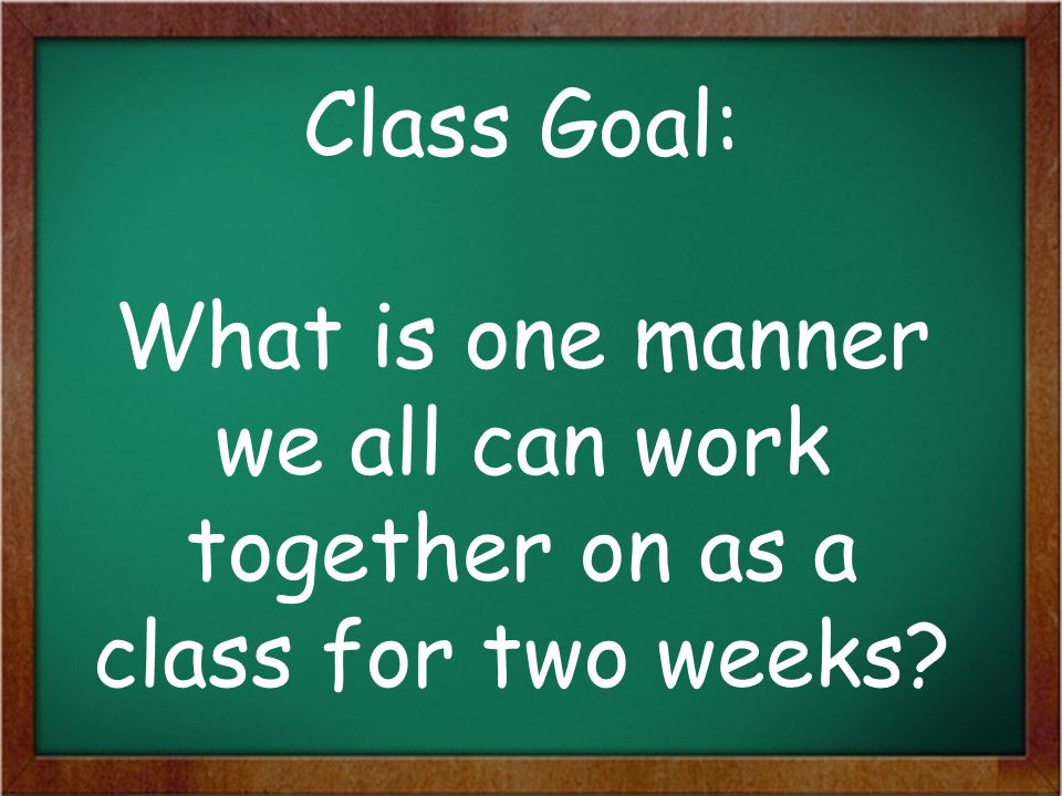 Class Goal: What is one manner we all can work together on as a class for two weeks