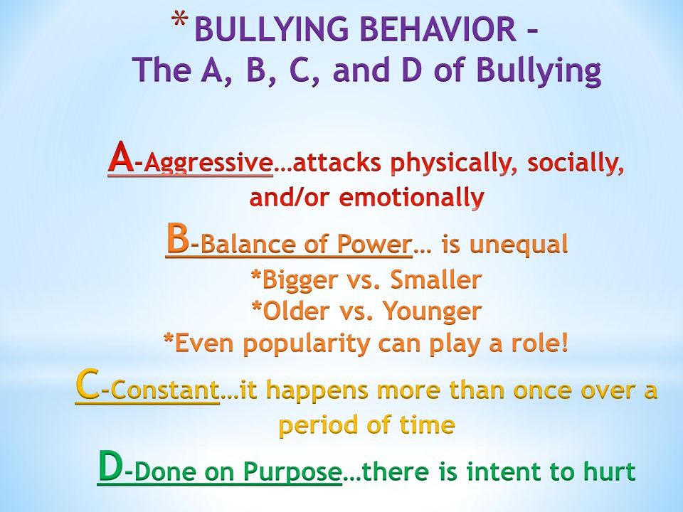 Different Types of Bullying Behavior : * Physical – hitting, kicking, tripping * Verbal – Threats * Social/Emotional – Exclusion, rumors * Cyber – Use of technology to carry out the above