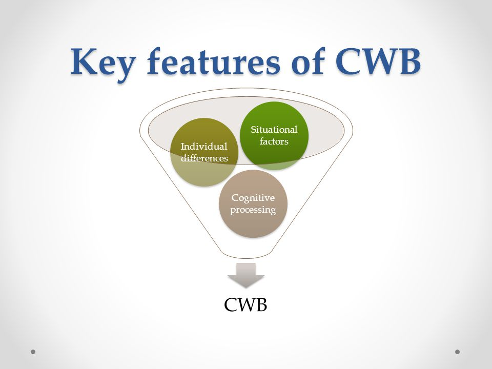 Key features of CWB CWB Cognitive processing Individual differences Situational factors