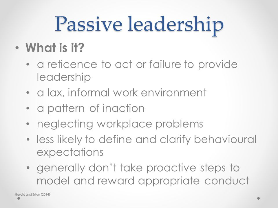 Passive leadership What is it.