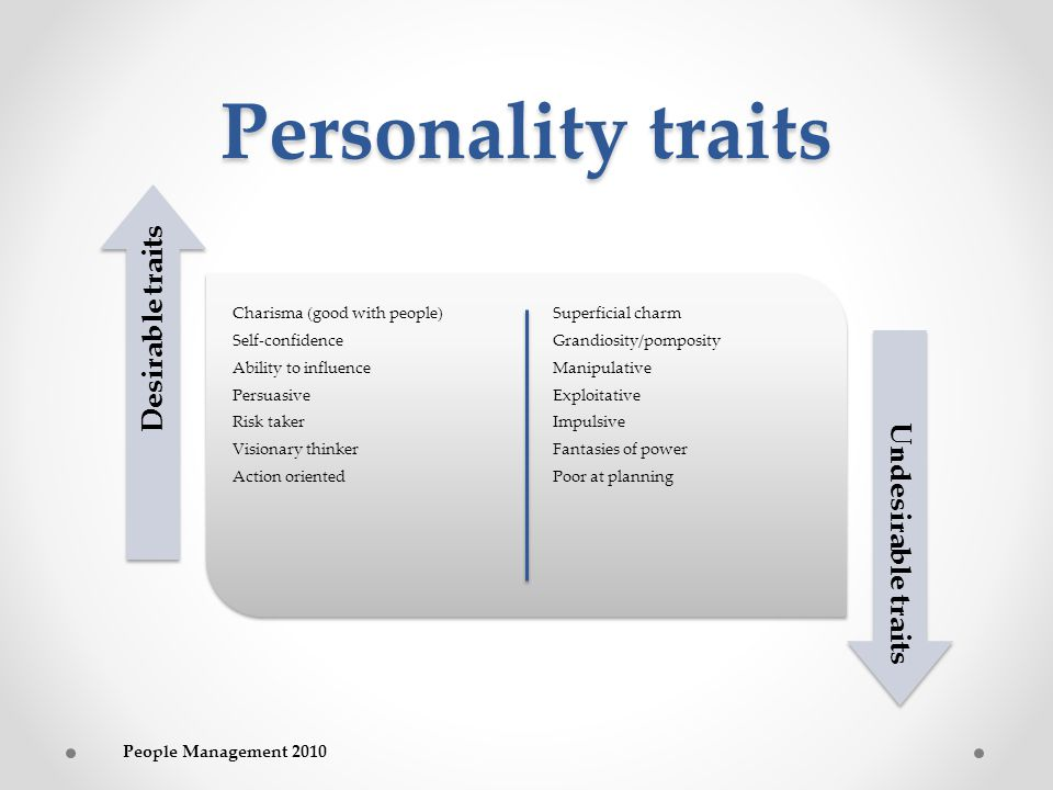 Personality traits Charisma (good with people) Self-confidence Ability to influence Persuasive Risk taker Visionary thinker Action oriented Superficial charm Grandiosity/pomposity Manipulative Exploitative Impulsive Fantasies of power Poor at planning Desirable traits Undesirable traits People Management 2010