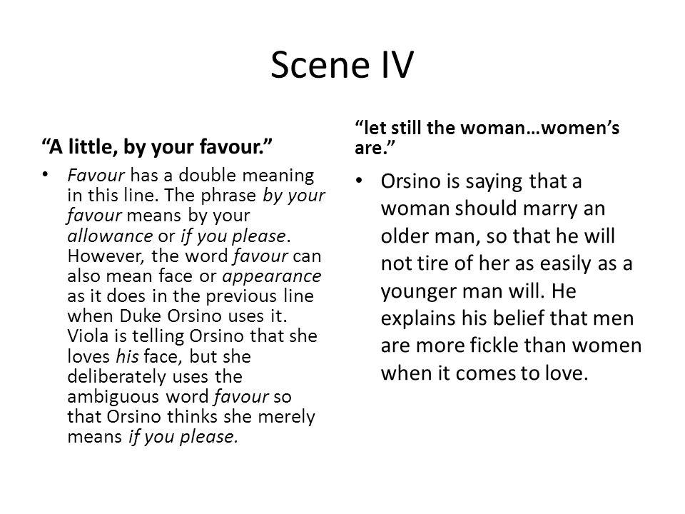 Scene IV A little, by your favour. Favour has a double meaning in this line.