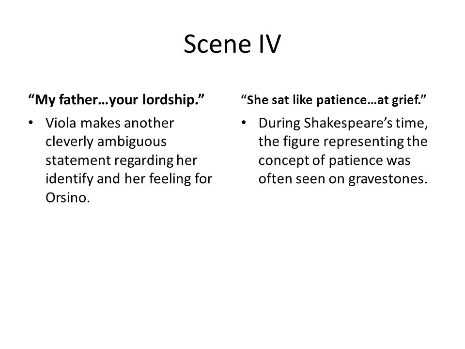 Scene IV My father…your lordship. Viola makes another cleverly ambiguous statement regarding her identify and her feeling for Orsino.