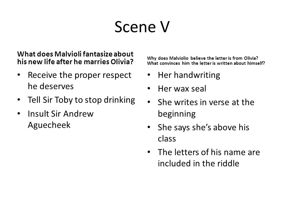 Scene V What does Malvioli fantasize about his new life after he marries Olivia.