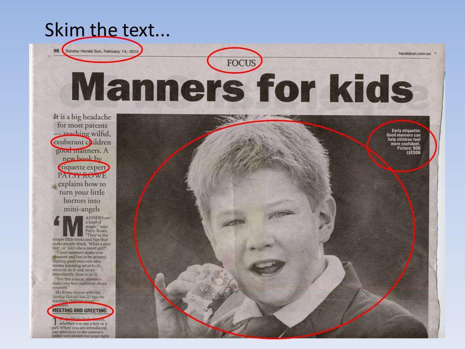 Skim the text...