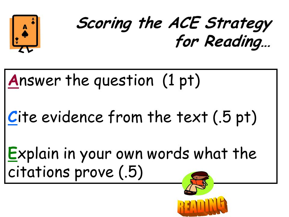 Answer the question (1 pt) Cite evidence from the text (.5 pt) Explain in your own words what the citations prove (.5) Scoring the ACE Strategy for Reading…