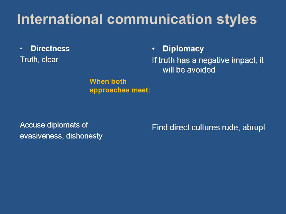 Directness Truth, clear Accuse diplomats of evasiveness, dishonesty Diplomacy If truth has a negative impact, it will be avoided Find direct cultures rude, abrupt When both approaches meet: International communication styles