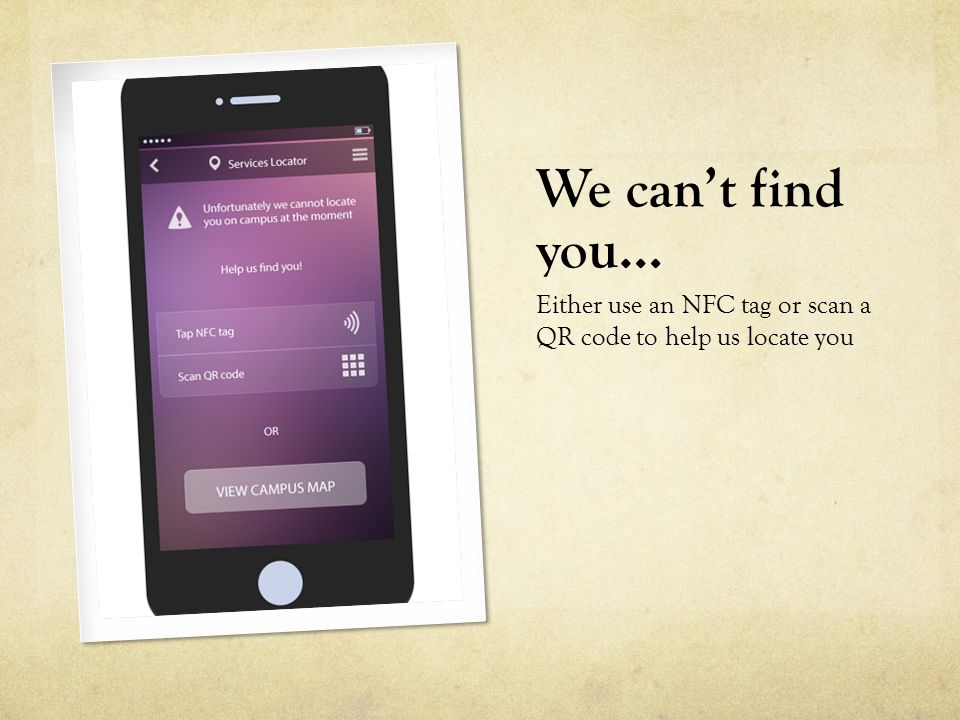 We can't find you… Either use an NFC tag or scan a QR code to help us locate you