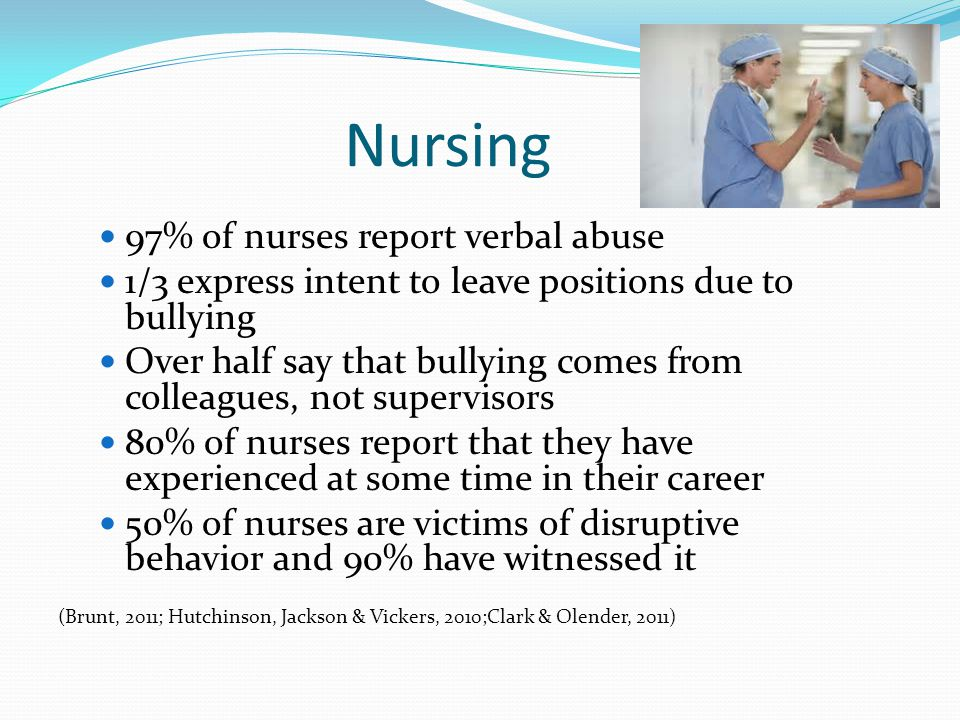 Nursing 97% of nurses report verbal abuse 1/3 express intent to leave positions due to bullying Over half say that bullying comes from colleagues, not supervisors 80% of nurses report that they have experienced at some time in their career 50% of nurses are victims of disruptive behavior and 90% have witnessed it (Brunt, 2011; Hutchinson, Jackson & Vickers, 2010;Clark & Olender, 2011)
