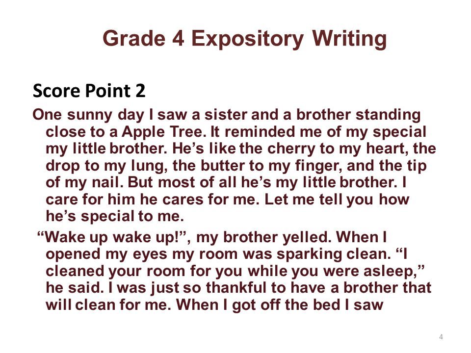 Grade 4 Expository Writing Score Point 2 One sunny day I saw a sister and a brother standing close to a Apple Tree.