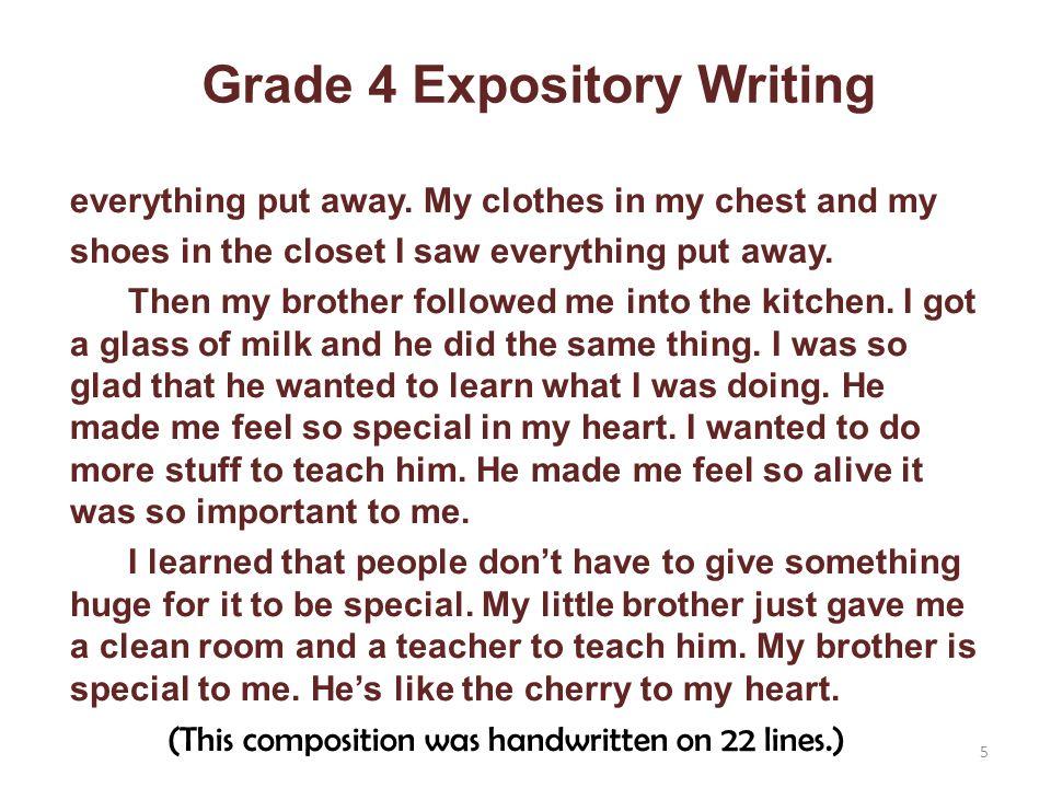 Grade 4 Expository Writing everything put away.