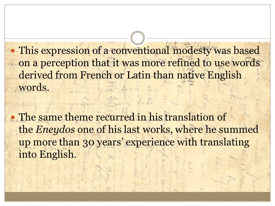 This expression of a conventional modesty was based on a perception that it was more refined to use words derived from French or Latin than native Eng