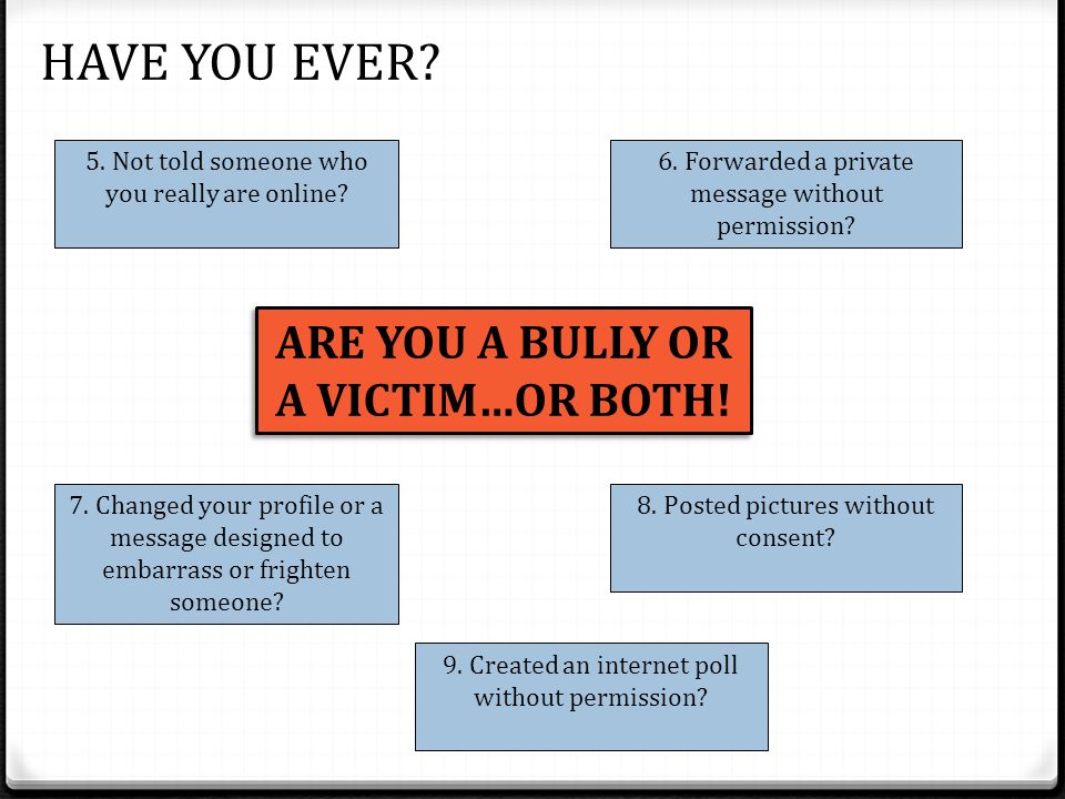 ARE YOU A BULLY OR A VICTIM…OR BOTH. HAVE YOU EVER.