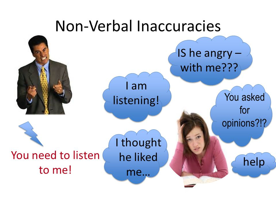 Non-Verbal Inaccuracies You need to listen to me! IS he angry – with me??? I am listening! You asked for opinions?!? I thought he liked me… help