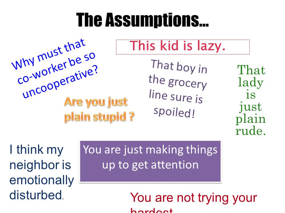 The Assumptions… That lady is just plain rude. You are just making things up to get attention You are not trying your hardest Why must that co-worker
