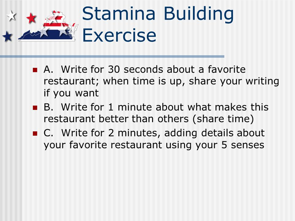Stamina Building Exercise A.