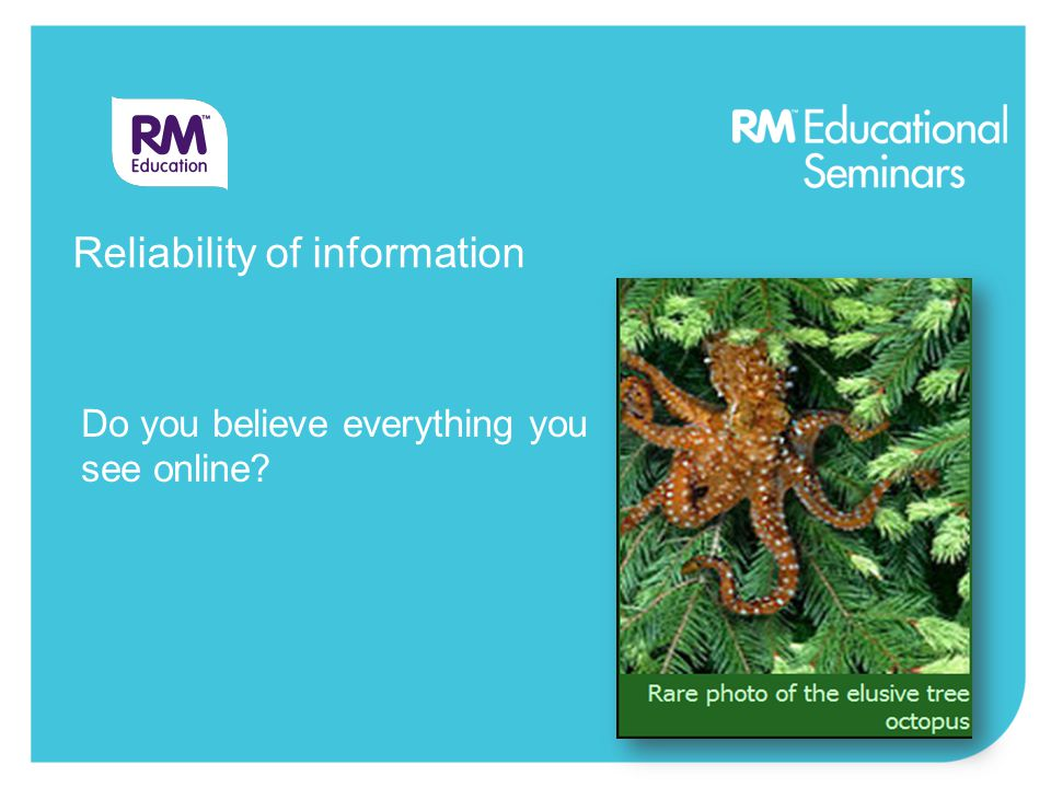 Do you believe everything you see online Reliability of information