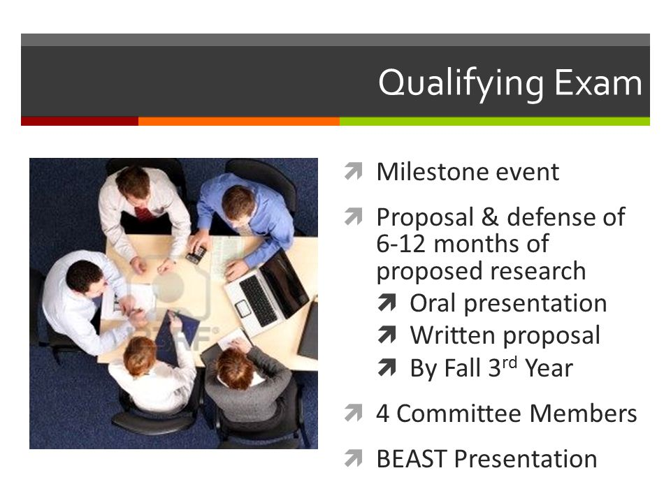 Qualifying Exam  Milestone event  Proposal & defense of 6-12 months of proposed research  Oral presentation  Written proposal  By Fall 3 rd Year  4 Committee Members  BEAST Presentation