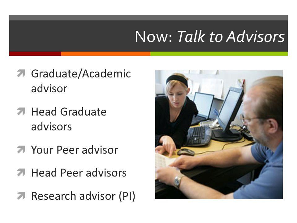 Now: Talk to Advisors  Graduate/Academic advisor  Head Graduate advisors  Your Peer advisor  Head Peer advisors  Research advisor (PI)