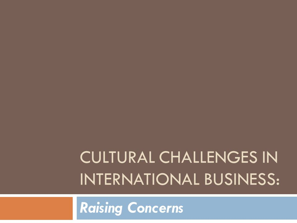 CULTURAL CHALLENGES IN INTERNATIONAL BUSINESS: Raising Concerns