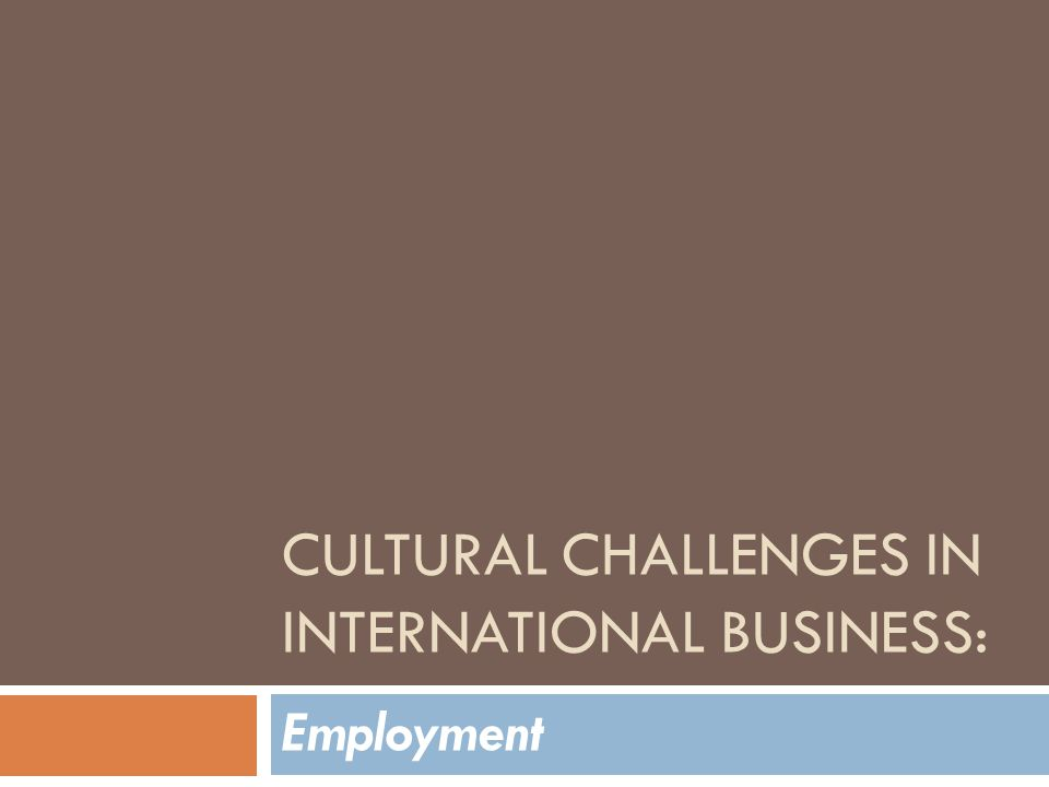 CULTURAL CHALLENGES IN INTERNATIONAL BUSINESS: Employment