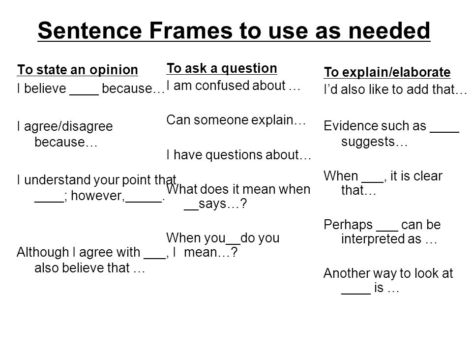 Sentence Frames to use as needed To state an opinion I believe ____ because… I agree/disagree because… I understand your point that ____; however,_____.