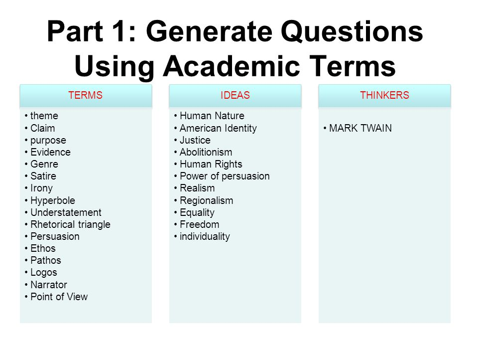 Part 1: Generate Questions Using Academic Terms TERMS theme Claim purpose Evidence Genre Satire Irony Hyperbole Understatement Rhetorical triangle Persuasion Ethos Pathos Logos Narrator Point of View IDEAS Human Nature American Identity Justice Abolitionism Human Rights Power of persuasion Realism Regionalism Equality Freedom individuality THINKERS MARK TWAIN