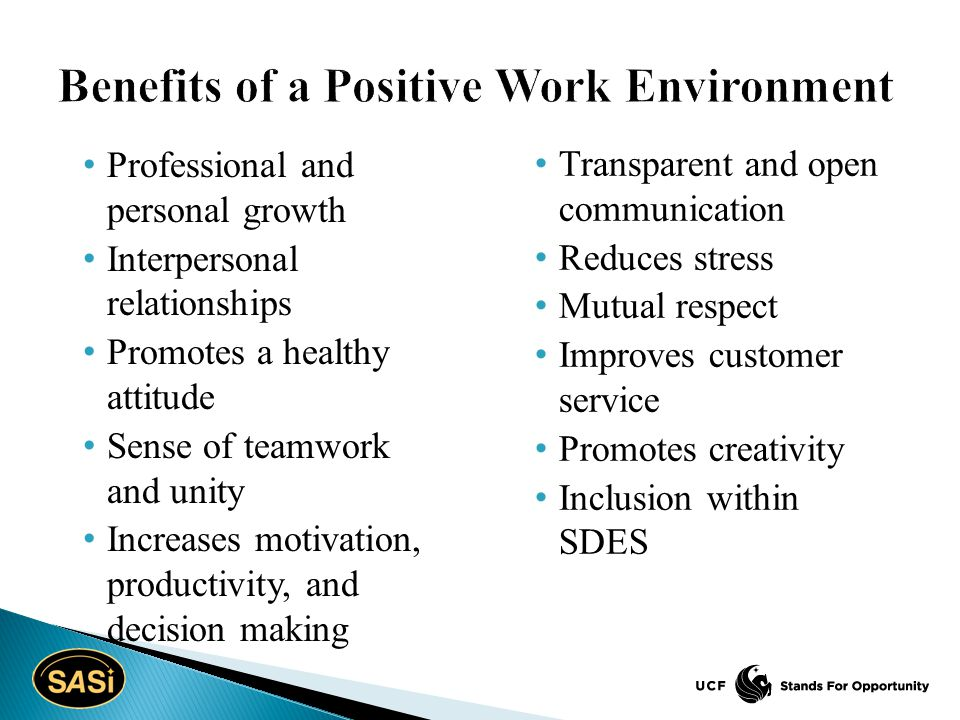 Professional and personal growth Interpersonal relationships Promotes a healthy attitude Sense of teamwork and unity Increases motivation, productivity, and decision making Transparent and open communication Reduces stress Mutual respect Improves customer service Promotes creativity Inclusion within SDES