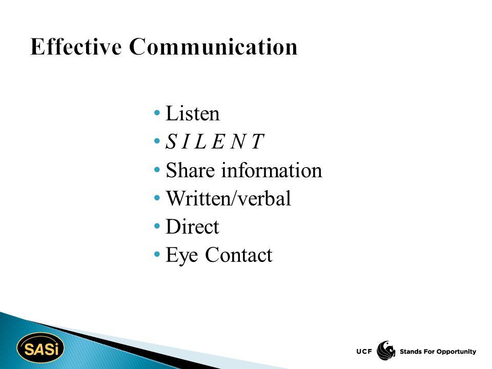 Listen S I L E N T Share information Written/verbal Direct Eye Contact