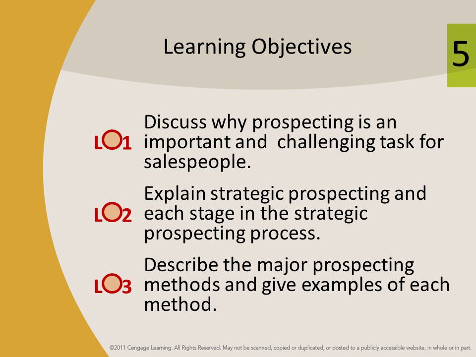 5 Learning Objectives Discuss why prospecting is an important and challenging task for salespeople.