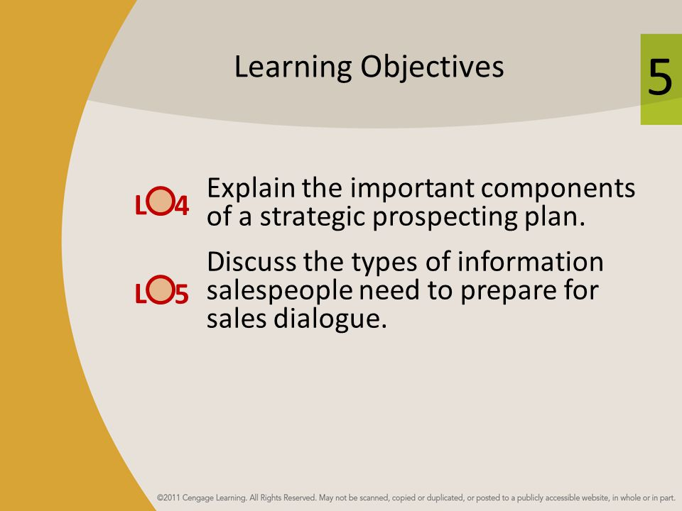 5 Learning Objectives Explain the important components of a strategic prospecting plan.