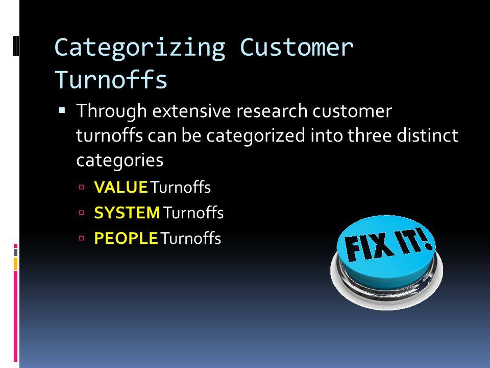 Categorizing Customer Turnoffs  Through extensive research customer turnoffs can be categorized into three distinct categories  VALUE  VALUE Turnof
