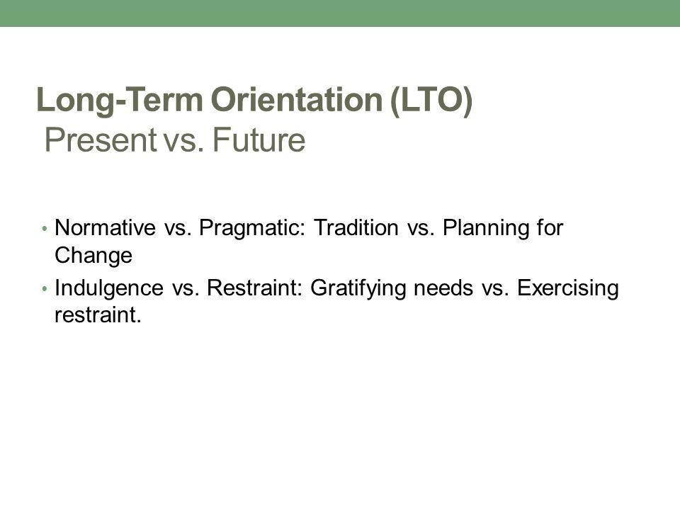 Long-Term Orientation (LTO) Present vs.Future Normative vs.