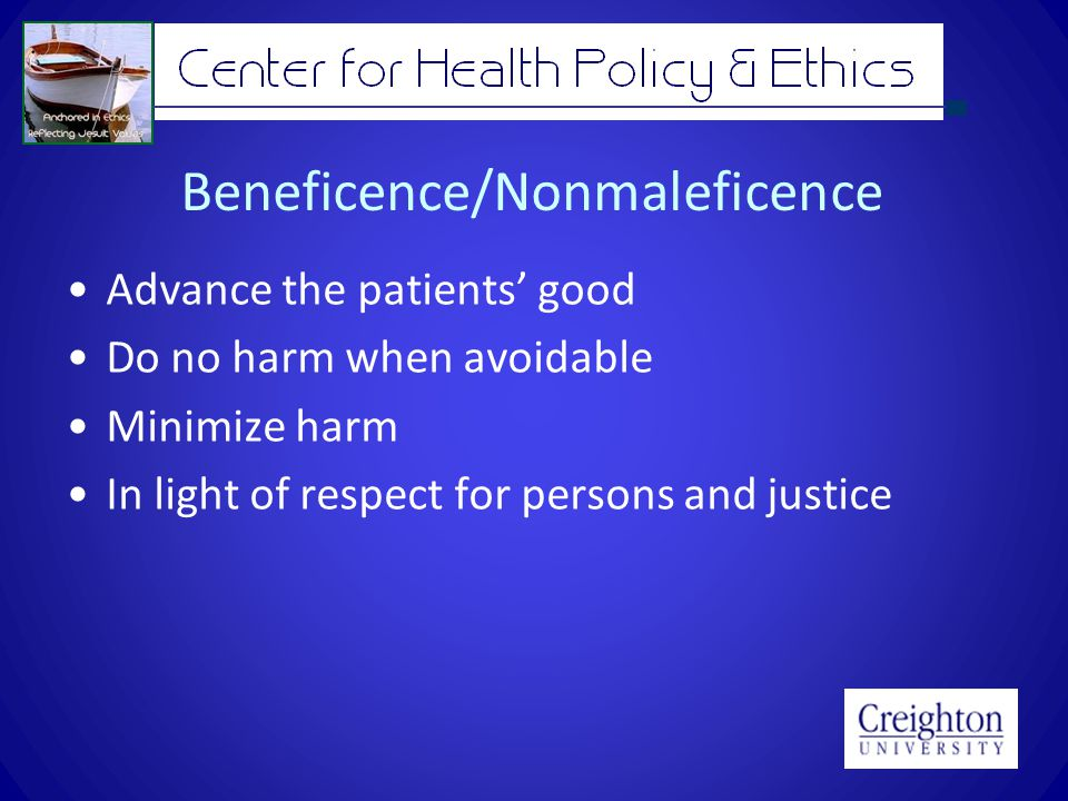 Beneficence/Nonmaleficence Advance the patients' good Do no harm when avoidable Minimize harm In light of respect for persons and justice