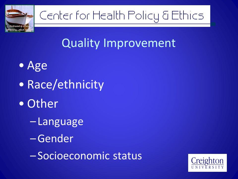 Quality Improvement Age Race/ethnicity Other –Language –Gender –Socioeconomic status