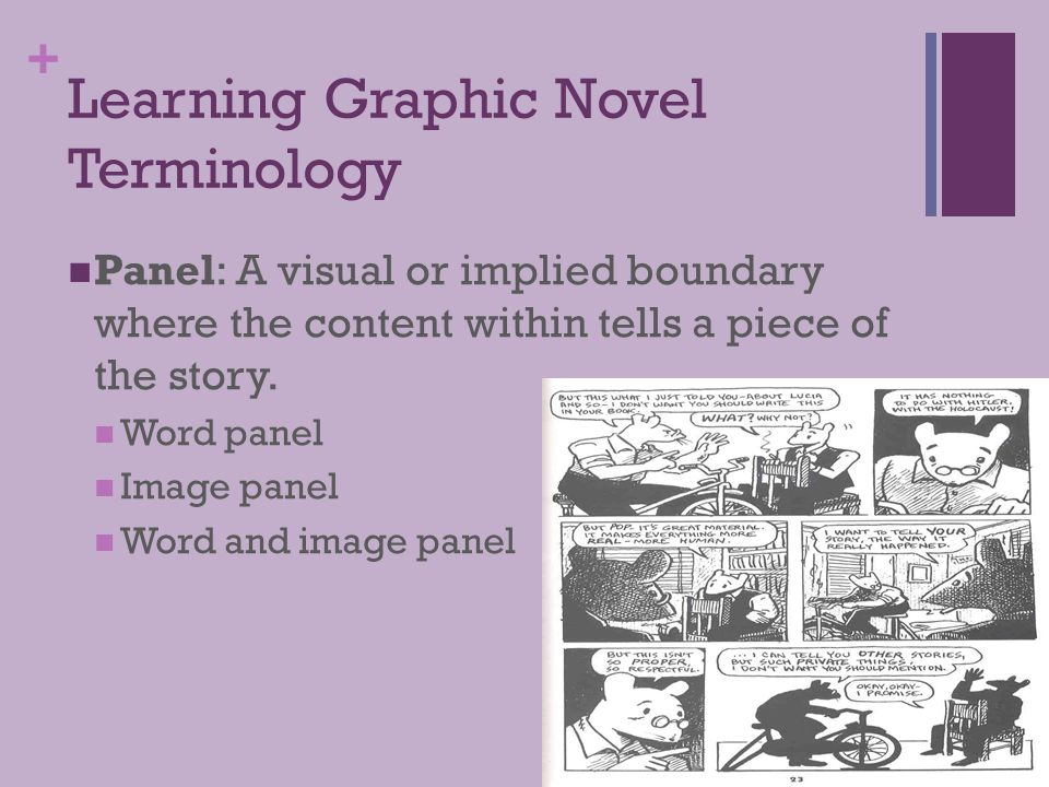 + Learning Graphic Novel Terminology Panel: A visual or implied boundary where the content within tells a piece of the story. Word panel Image panel W