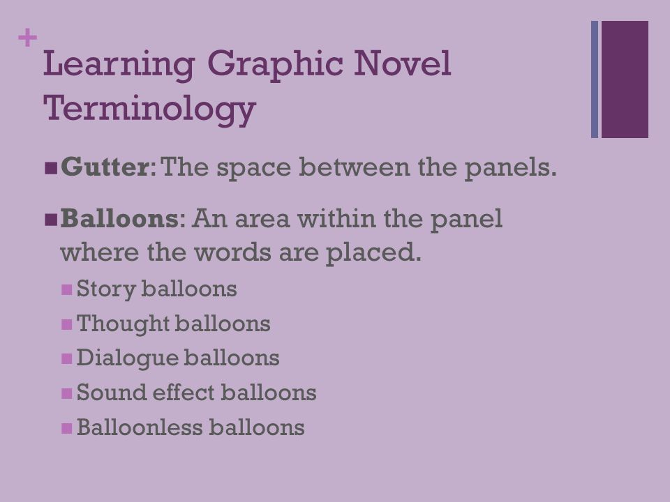 + Learning Graphic Novel Terminology Gutter: The space between the panels. Balloons: An area within the panel where the words are placed. Story balloo