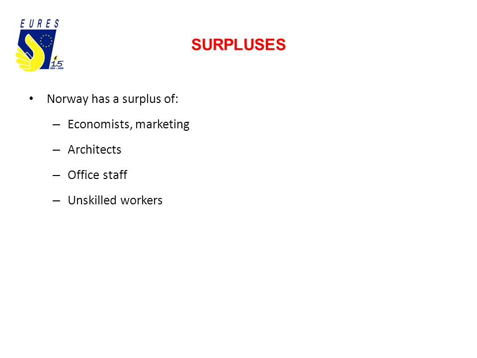 SURPLUSES Norway has a surplus of: – Economists, marketing – Architects – Office staff – Unskilled workers