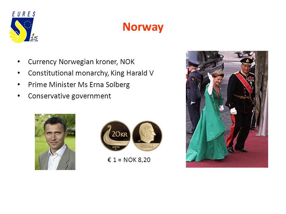 Norway Currency Norwegian kroner, NOK Constitutional monarchy, King Harald V Prime Minister Ms Erna Solberg Conservative government € 1 = NOK 8,20