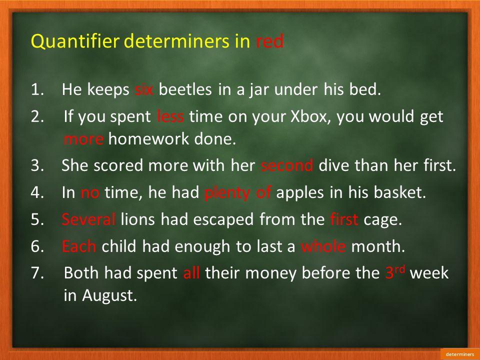 Quantifier determiners in red 1.He keeps six beetles in a jar under his bed.