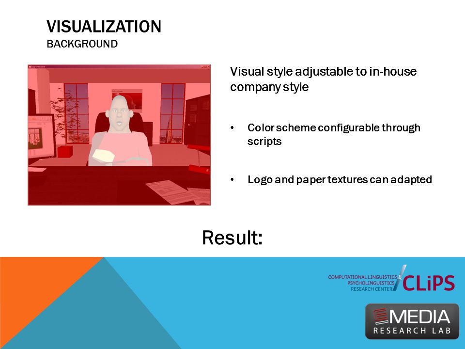 VISUALIZATION BACKGROUND Visual style adjustable to in-house company style Color scheme configurable through scripts Logo and paper textures can adapt