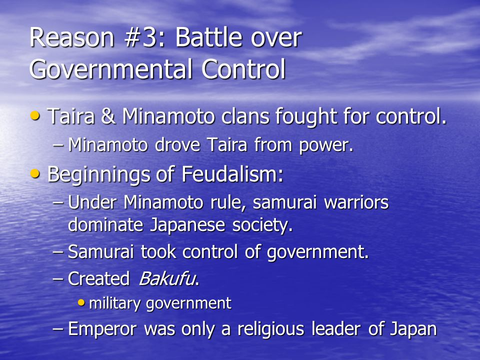 Reason #2: Aftermath of Mongols Mongols attempt to invade Japan. Mongols attempt to invade Japan. Mongols are not successful. Mongols are not successf