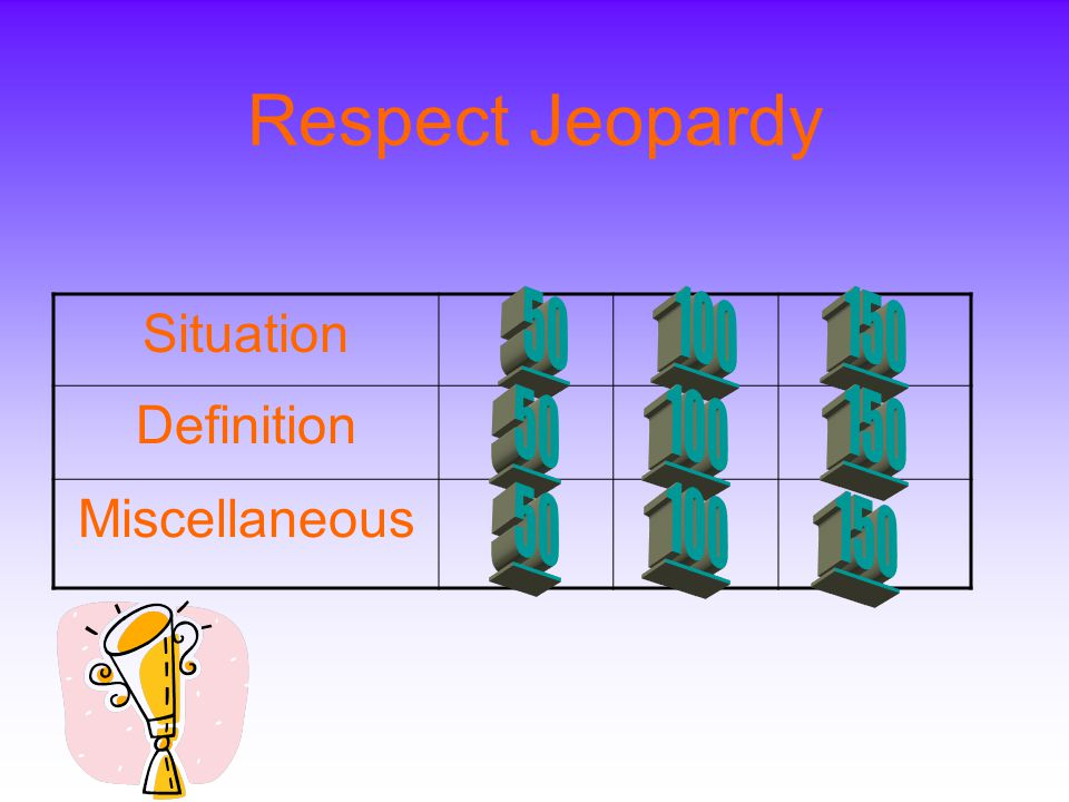 Respect Jeopardy Situation Definition Miscellaneous