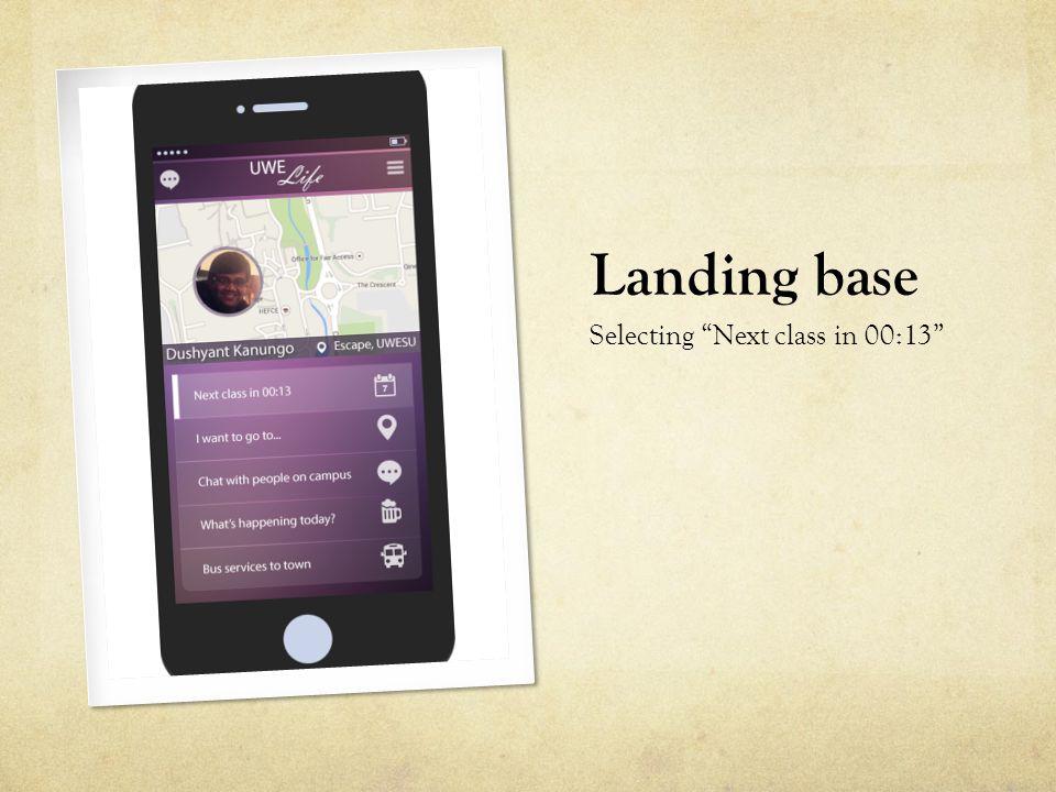 "Landing base Selecting ""Next class in 00:13"""